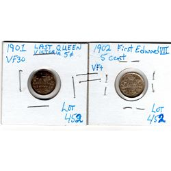 1901 & 1902 SILVER FIVE CENTS