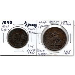 1857 DRAGON SLAYER PENNY & 1840 NOVA SCOTIA HALF PENNY