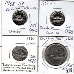 1968 & 1980 COINS WITH DOUBLING ERRORS NICE COINS