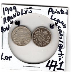 1909 SILVER FIVE CENTS POINTED & ROUND LEAVES TYPES