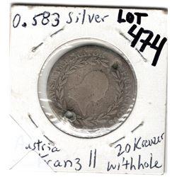 474 AUSTRIA 1809B 20 KREUZER FRANZ II WITH HOLE