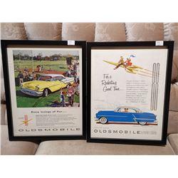 2 Oldsmobile Framed Paper Ads