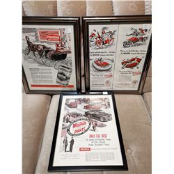 3 Advertising Early 1950's Paper Ads Framed