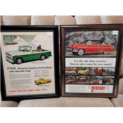 Ford and Mercury Framed Paper Ads