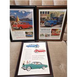 3 Studebaker  Framed Paper Ads
