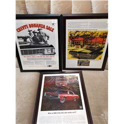 3 GM 60's Framed Paper Ads