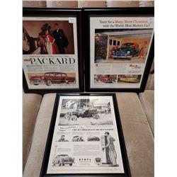 Packard , Nash & Ethyl Framed Paper Ads