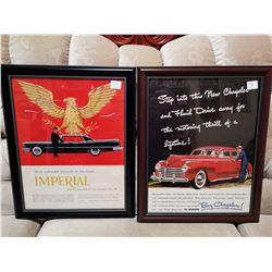 2 Chrysler Framed Paper Ads