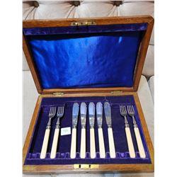 Antique Sterling Silver Forks and Knives Set - Marked