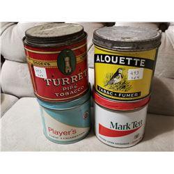 4 Various Tobacco Tin Cans