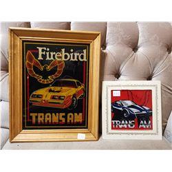"""14"""" X 11"""" Glass Firebird Sign & Small Glass Trans-Am Sign"""