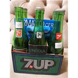 6 Vintage 7UP Bottles C/W Cardboard Case