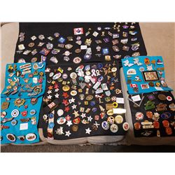 2 Large Displays of Pins on Cloth & 4 Small Displays