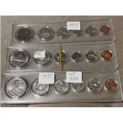 1975,76,77 Set of Canada Coins
