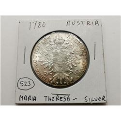 1780 Austria Gian Silver Coin , Maria Theresa