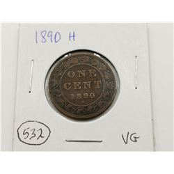 1890 H Large One Cent , VG