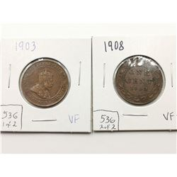1903 & 1908 VF Highgrade One Cent Coins
