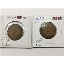 1909 & 1910  VF Highgrade One Cent Coins