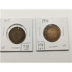 1914 & 1915 VF Highgrade One Cent Coins