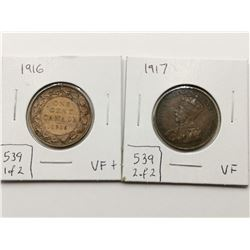 1916 & 1917 VF+ Highgrade One Cent Coins