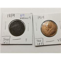 1859 N9 & 1919 VF+ Highgrade One Cent Coins