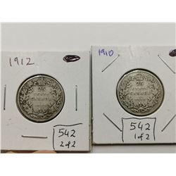 1910 & 1912 Silver 25 Cent Coins