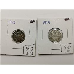 1918 & 1919 Silver 10 Cent Coins