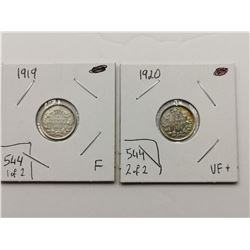 1920 - VF and 1919 F+ Silver 5 Cent Coins