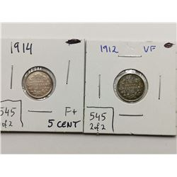 1912 -VF and 1914 F+ Silver 5 Cent Coins