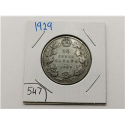 1929 Silver 50 Cent Coin
