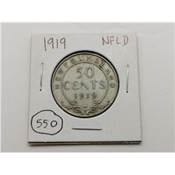 1919 NFLD Silver 50 Cent Coin