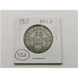 1917 NFLD Silver 50 Cent Coin