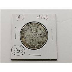 1911 NFLD Silver 50 Cent Coin