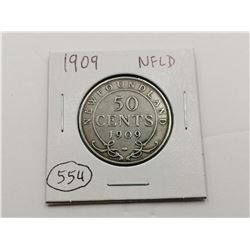 1909 NFLD Silver 50 Cent Coin