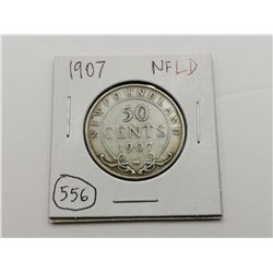 1907 NFLD Silver 50 Cent Coin