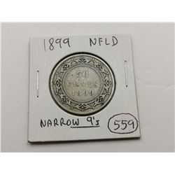 1899 Narrow 9's NFLD Silver 50 Cent Coin