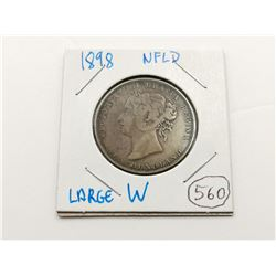 1898 Large W NFLD Silver 50 Cent Coin