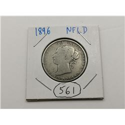 1896 NFLD Silver 50 Cent Coin