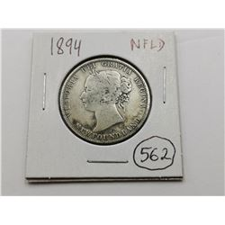 1894 NFLD Silver 50 Cent Coin