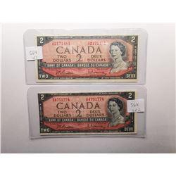 Two 1954 $2 Bills , One is MISSCUT