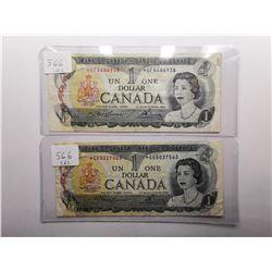 Two 1973 Replacement $1 Bills , GF & GU Prefix