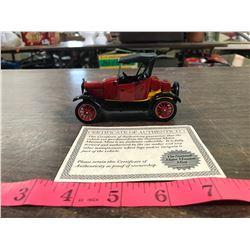 1/32 Scale Diecast 1924 Ford With Certificate of Authenticity