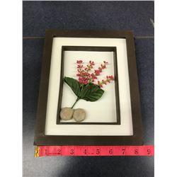 Pink Flower + Rocks Picture Black Frame