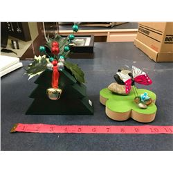 Small Wooden Christmas Tree With Bell + Butterfly Decretive Item