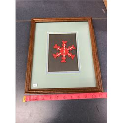 """Snow Flake Picture With Frame 11""""x13"""""""