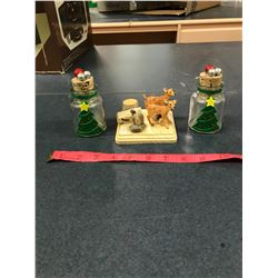 (2) Christmas Decretive Small Bottles + Wooden Deer Item