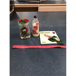 """Home"" Decretive + Christmas Item (Plastic) + Sandy Flower Bottle"