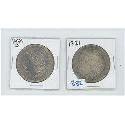 1921 X 2 American Silver Dollar