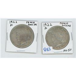 1922 X 2 American Silver Dollar