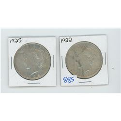 1922, 1925 American Silver Dollar Lot of 2